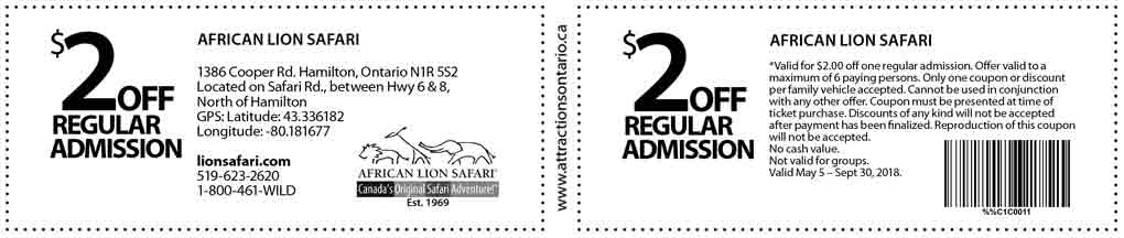 African lion safari coupons 2019