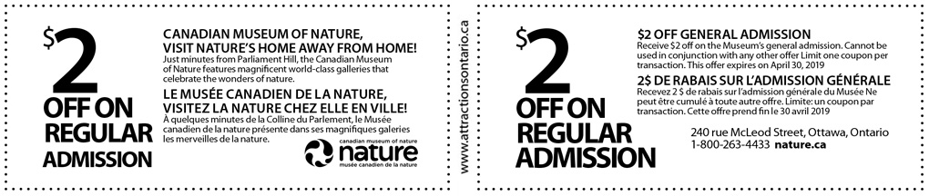 coupons museum of nature ottawa