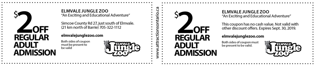 photo relating to White Post Farms Printable Coupons identify Elmvale Jungle Zoo Coupon - Points of interest Ontario