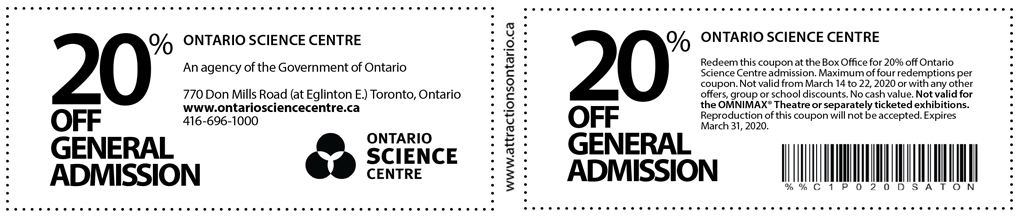 Ontario Science Centre Coupon - Attractions Ontario