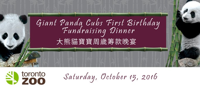 TORONTO ZOO ANNOUNCES GIANT PANDA CUBS FIRST BIRTHDAY FUNDRAISING DINNER