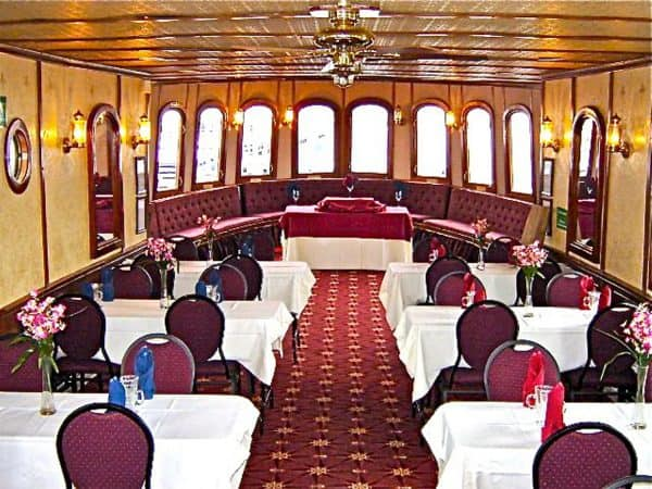 Dine in elegance aboard the finely appointed 'Lady of the Isles'
