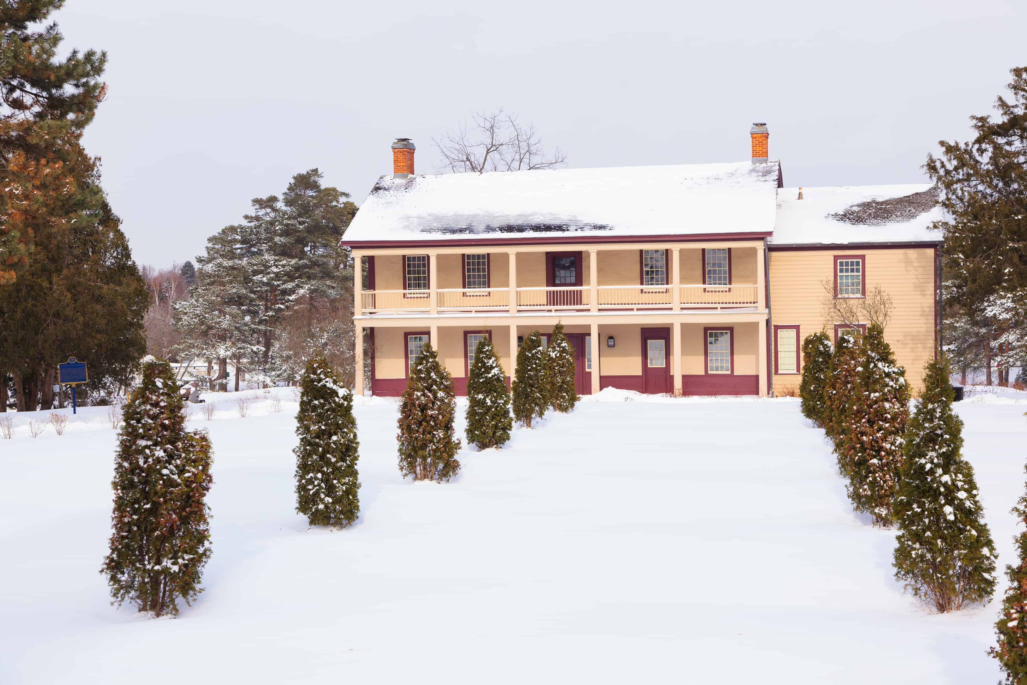 Battlefield House exterior in winter