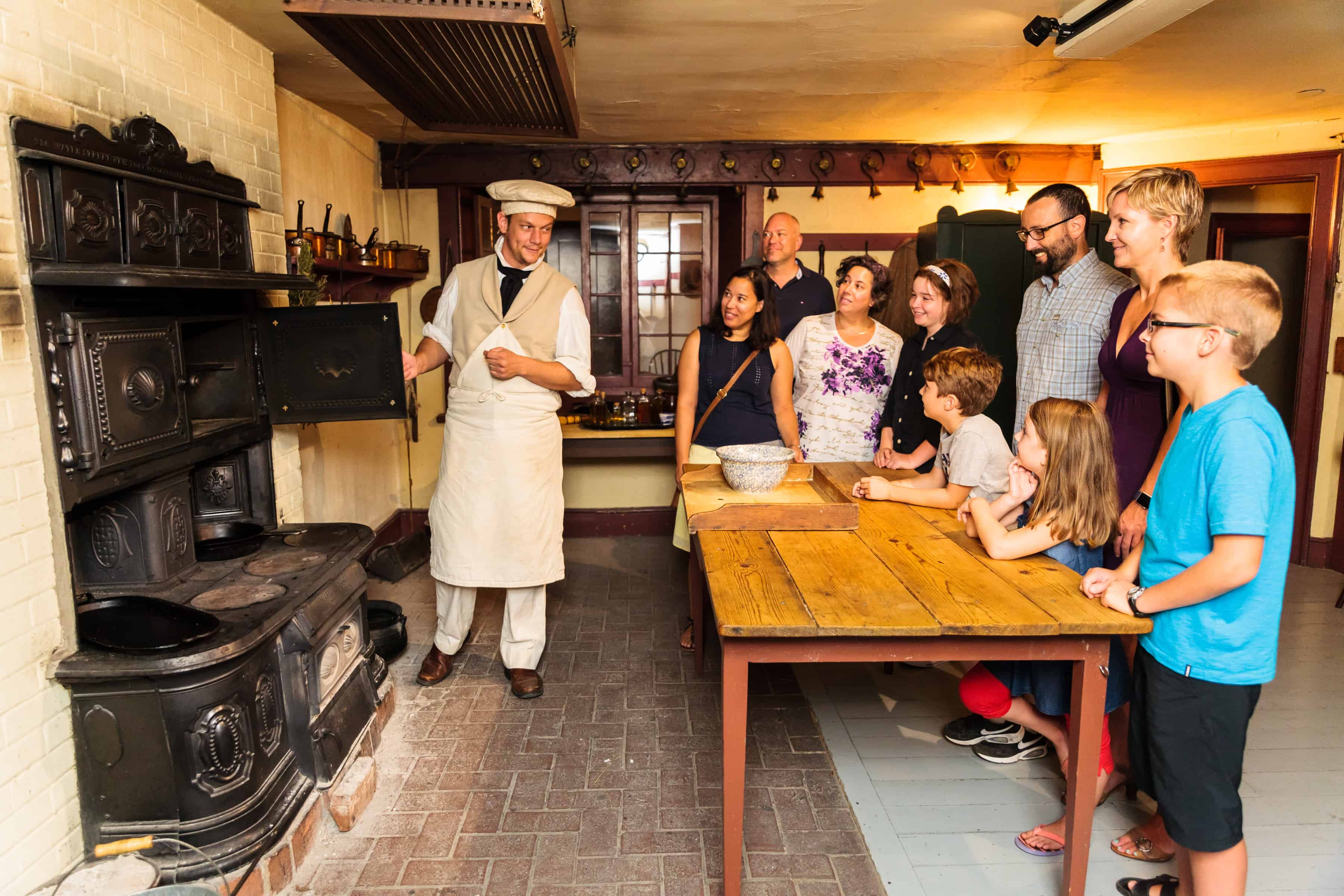 Touring Dundurn's historic kitchen with a costumed interpreter