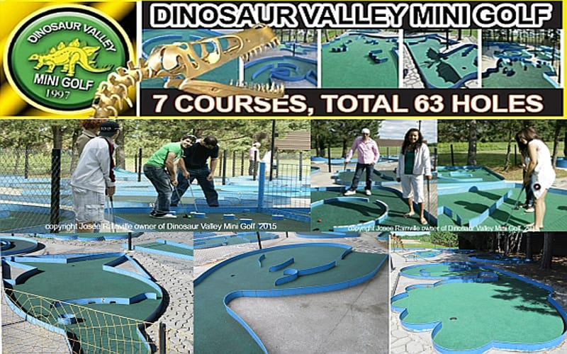Some Holes at our 7 courses, total of 63 holes with dinosaurs & dragons