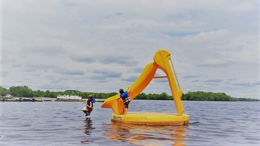 Make a slash on our lake water slide.