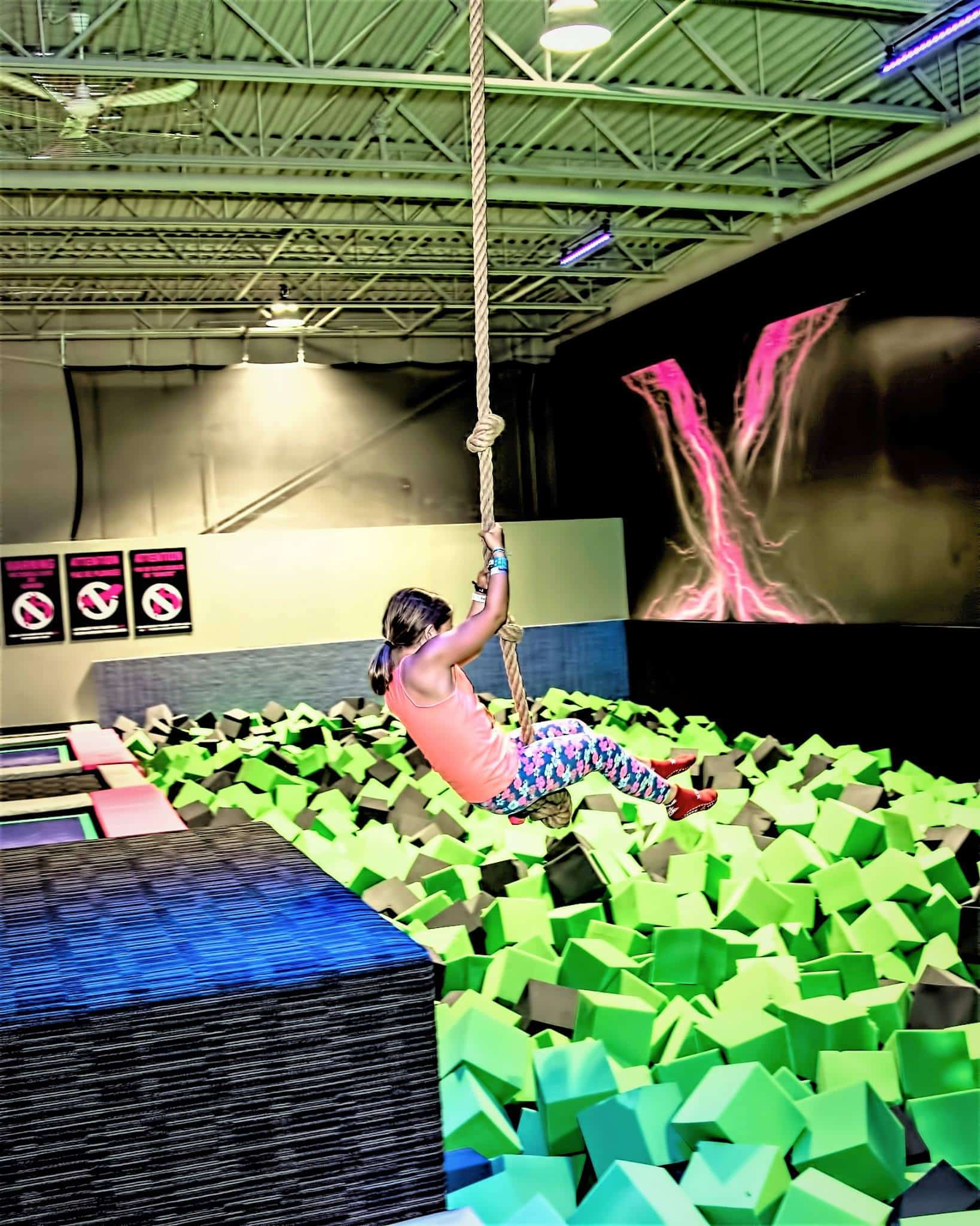 Rope Swing and Launch Lanes into Foam Pit
