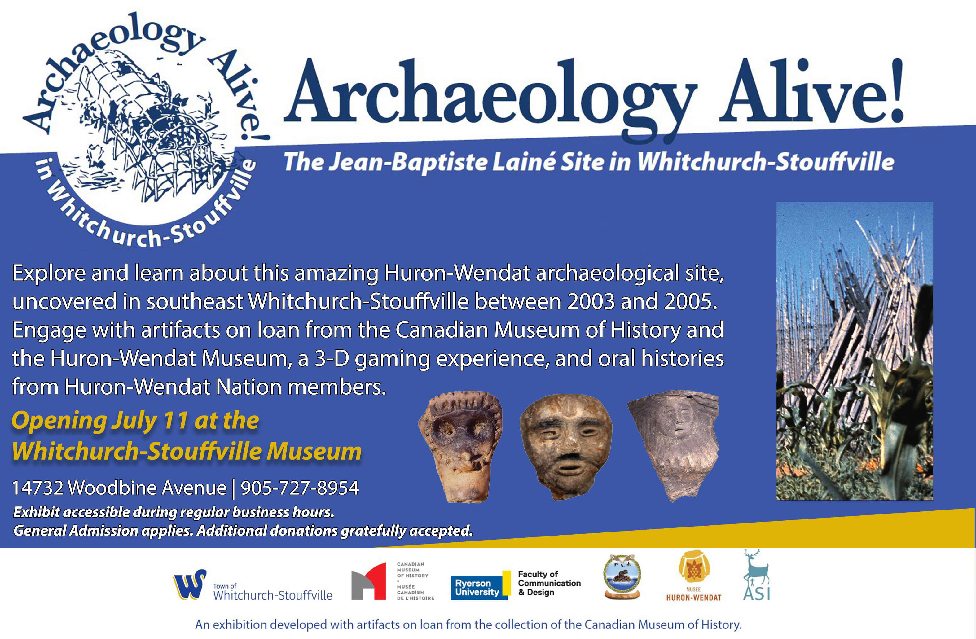 Half Page ad - Exhibit: Archaeology Alive! The Jean-Baptiste Lainé site in Whitchurch-Stouffville
